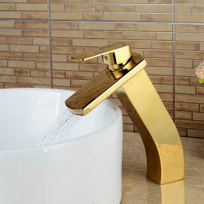 F-0748G Contemporary Brass Waterfall Ti-PVD Ceramic Valve Single Handle One-Hole , Bathroom Sink Faucet