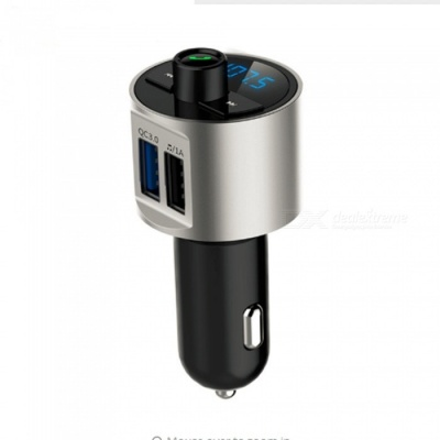 BT56 Wireless Bluetooth Car Kit with FM Transmitter, MP3 Player, QC3.0 3.4A Dual USB Car Charger - Silver