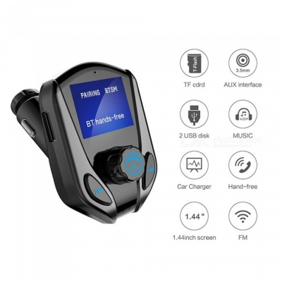 X8 Bluetooth Car Kit w/ Hands Free FM Transmitter, 3.5mm AUX A2DP Music Player, Dual USB Charger - Black