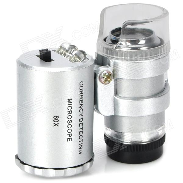 Super Mini 60X Microscope with 2-LED + Currency Detecting UV Light