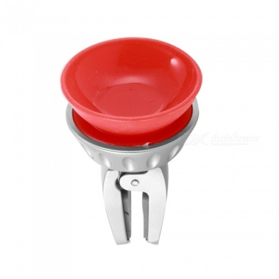 Car Air Vent Flexible Metal 360 Degree Rotating Clip Phone Holder with Strong Suction Cup - Red