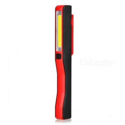 Mini USB Rechargeable COB LED Super Bright Cold White Inspection Working Light with Clip, Magnetic Strip - Red