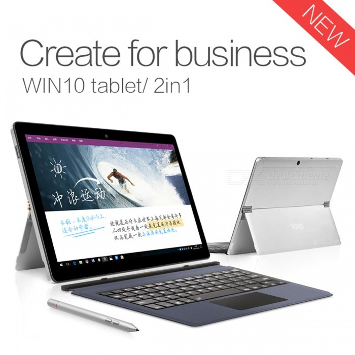 """VOYO i3 2-in-1 10.1"""" Windows10 Tablet PC with 8GB RAM, 128GB ROM - Silver"""