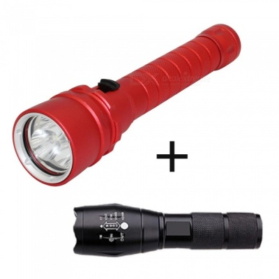 ZHAOYAO XML-L2 Outdoor IP68 Waterproof 3-LED Diving Flashlight + Rechargeable Bright Flashlight - Red