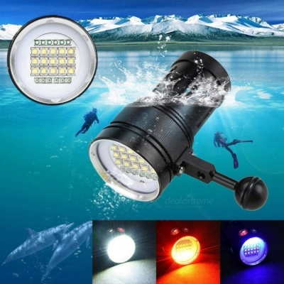 ZHAOYAO 3-Mode 100m Diving Underwater Flashlight, 15 x XM-L2 + 6 x Red + 6 x Purple 18000LM LED Light Diving Torch