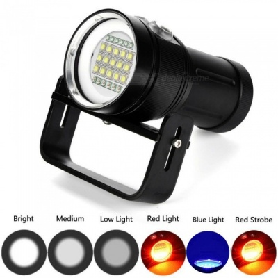 ZHAOYAO 3-Mode 100m Diving Underwater Flashlight, 15 x XM-L2 + 6 x Red + 6 x Blue 18000LM LED Light Diving Torch