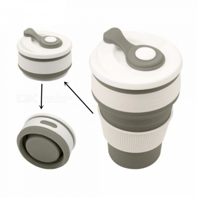 Collapsible Silicone Portable Tea Cup for Outdoor Travel Camping Hiking Picnic, Office Water Mug (350ml)