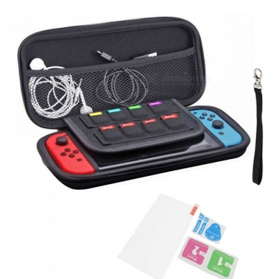 Protective Hard Portable Travel Bag Shell Pouch +Tempered Glass Screen Protector for Nintendo Switch