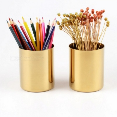 Nordic Style Stainless Steel Round Shaped Pen Holder Metal Flower Vase Cup Ornaments - Golden