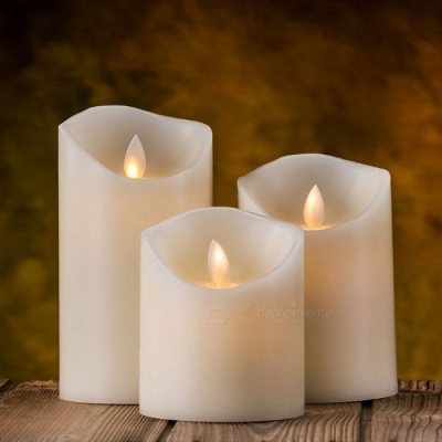 Simulation Flameless Candle Festival Party LED Light, Genuine Paraffin Wax Candle with Realistic Dancing LED Flame
