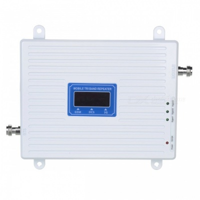 Color Display 3G 4G 900/1800/2100MHz GSM DCS WCDMA Signal Booster Kit for Cellphone - White (EU Plug)