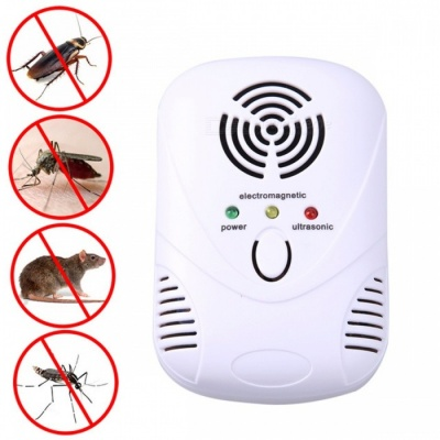110-250V/6W Electronic Ultrasonic Mouse Killer, Insect Rats Spiders Cockroach Trap Mosquito Repeller Control (EU Plug)