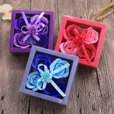 Exquisite High-End Soap Rose Flower with Gift Box - Blue