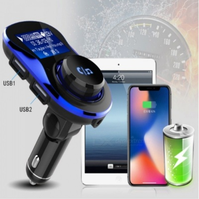BC28 Bluetooth Hands-Free Car Kit with MP3 Player, Phone Charger - Blue
