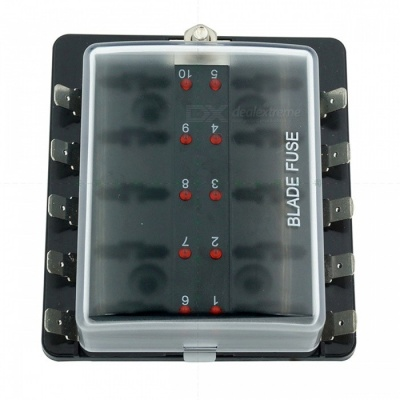 10-Way Blade Fuse Box [LED Indicator for Blown Fuse] [Protection Cover] [100 Amps] - Fuse Block for Automotive