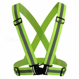 360 Degrees High Visibility Safety Vest Reflective Belt Fit for Running Cycling Outdoor Sports - Fluorescent Green