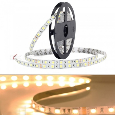 ZHAOYAO 5m Waterproof 60-5050 SMD LED Warm White Light Flexible Light Strip with Adhesive Tape, DC 24V