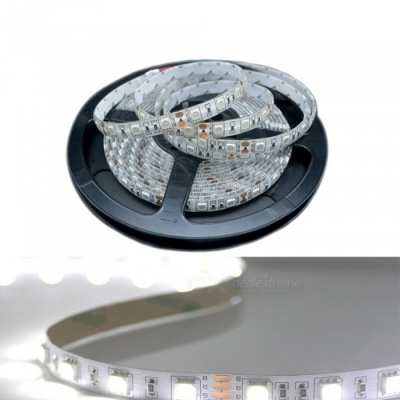 ZHAOYAO 5m Waterproof 60-5050 SMD LED White Light Flexible Light Strip with Adhesive Tape, DC 24V