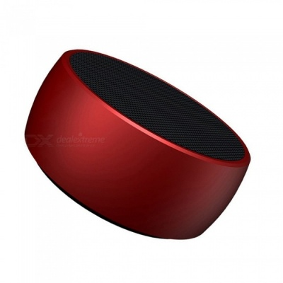 BS01 Portable Super Bass Bluetooth Speaker, Metal Steel Mini Wireless Speaker MP3 Player with TF Card Slot - Red