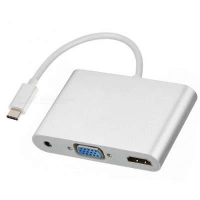 Cwxuan USB 3.1 Type-C to 4k HDMI / VGA Converter with 3.5mm Audio, Video Convertion Cable Adapter - Silver