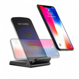 Mini Smile 10W Qi / QC Fast Wireless Charger Vertical or Horizontal Stand for IPHONE X / 8 / 8 Plus / Samsung - Black