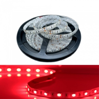 ZHAOYAO 5m DC 24V Non-Waterproof 5050SMD 60-LED/m Flexible Red LED Light Strip for Indoor Use and Decoration