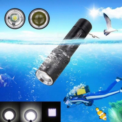 ZHAOYAO CREE XM L-T6 3-Mode LED Torch, Telescopic Focusing Diving Flashlight with 2 x 18650 Batteries + EU Charger