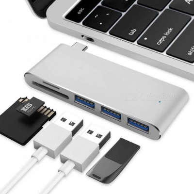 """Measy Type C Adapter with SD & Micro SD Card Reader, 3 USB 3.0 Ports for MacBook 12"""" New MacBook Pro ChromeBook - Silver"""