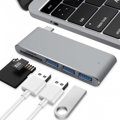 """Measy Type C Adapter with SD & Micro SD Card Reader, 3 USB 3.0 Ports for MacBook 12"""" New MacBook Pro ChromeBook - Space Grey"""