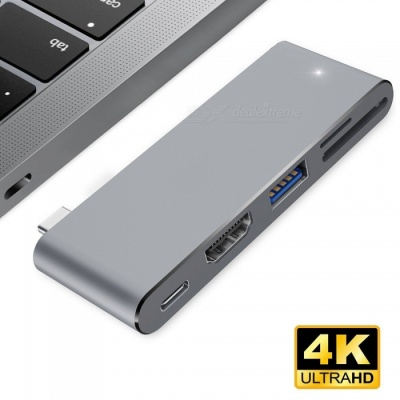 Measy USB Type-C Hub with HDMI Output, Pass-through Charge Port, 4K HDMI, SD/Micro SD Card Reader for New MacBook Pro - Gray