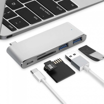 """Measy Type-C Multiport Adapter w/ Pass-through Charging Port, 2 USB 3.0 Port, SD / Micro SD Card Reader for MacBook 12"""" - Silver"""