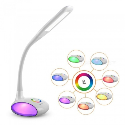 YouOKLight USB Touch Control 256-Color LED Desk Lamp with 3 Adjustable Level Brightness, Color-Changing Base - White (EU Plug)