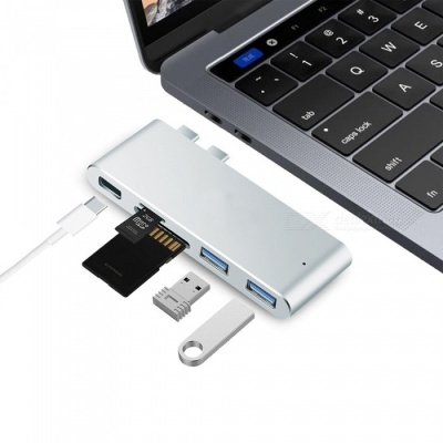 """Measy Aluminum Alloy Type-C USB-C Hub Adapter for New 2016 2017 MacBook Pro 13"""" and 15"""" - Silver"""