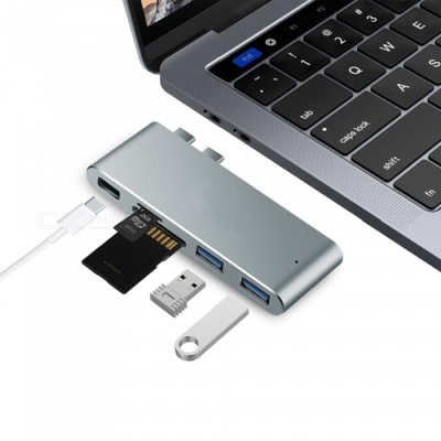 """Measy Aluminum Alloy Type-C USB-C Hub Adapter for New 2016 2017 MacBook Pro 13"""" and 15"""" - Grey"""