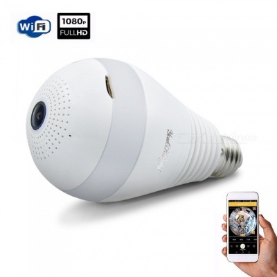 YouOKLight V380 E27 3W 1080P LED Bulb Shape Wi-Fi IP Camera, Wireless HD Home Security Panoramic 360 Degree Light Sensing Bulb