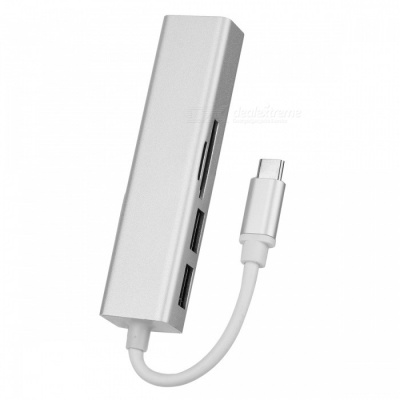 BSTUO USB3.1 Type-C to RJ45 1000Mbps Network Card with 2 USB3.0 Ports, TF/SD Card Reader - Silver