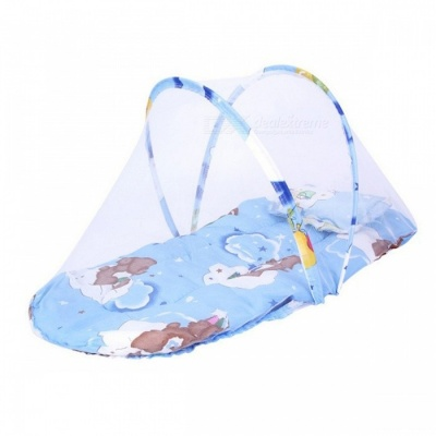 Portable Folding Thickened Baby Bed with Mosquito Net - Blue