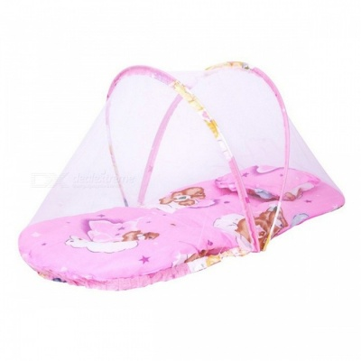 Portable Folding Thickened Baby Bed with Mosquito Net - Pink