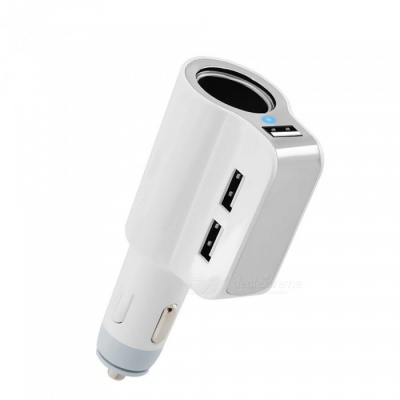 1 to 3 Car Cigarette Lighter Charger with 3-Port USB 3.0 - White