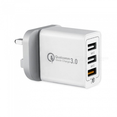 Mini Smile QC3.0 Quick Charge 3-Port Power Adapter Wall Fast Charger for Samsung Galaxy S9 / S9 Plus / Note 8 - UK Plug