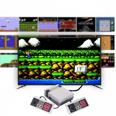HDMI Port Mini TV Game Console with 2 Controllers and Built-in 600 Classic Games for Family - Gray (US Plug)
