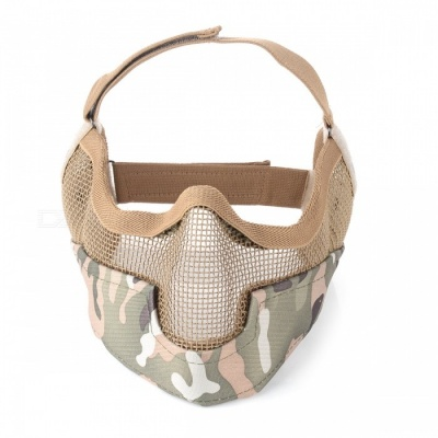 Low Carbon Steel Wire Outdoor Field Tactical Face Mask - Camouflage + Brown