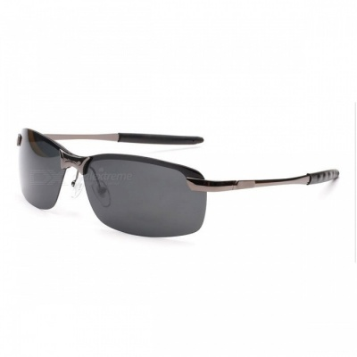 Men's Fashion Polarized UV400 Protection Metal Frame PC Lens Sunglasses - Gun Color + Grey