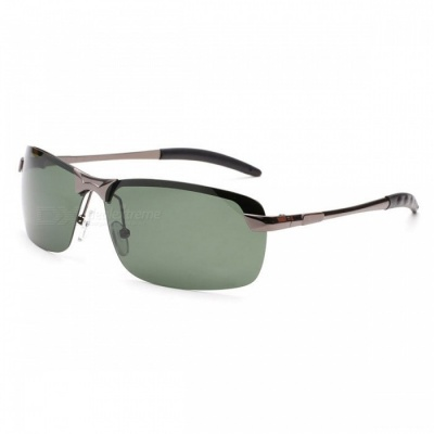 Men's Fashion Polarized UV400 Protection Metal Frame PC Lens Sunglasses - Gun Color + Green