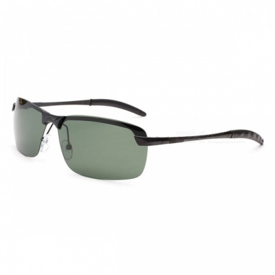 Men's Fashion Polarized UV400 Protection Metal Frame PC Lens Sunglasses - Black + Green