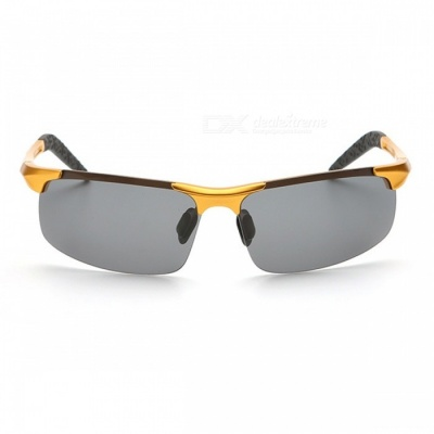 Men's Polarized Light Aluminium Magnesium Sunglasses for Outdoor Cycling and Driving - Gold + Grey