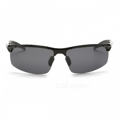 Men's Polarized Light Aluminium Magnesium Sunglasses for Outdoor Cycling and Driving - Black + Grey