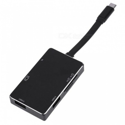 High Quality 6-in-1 USB3.1 Type-C to 2 USB3.0 Hub + SD / TF Card Reader with 4K HDMI + PD Port - Black
