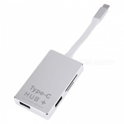 High Quality 6-in-1 USB3.1 Type-C to 2 USB3.0 Hub + SD / TF Card Reader with 4K HDMI + PD Port - Silver