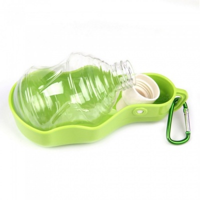 Portable Travel Pet Dog Cat Water Bottle Drinking Water Plastic Bowl - Green (250ML)